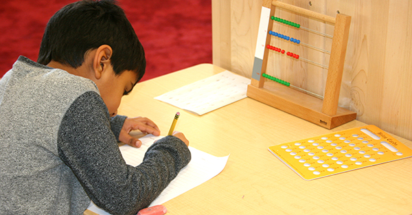 Montessori math education with abacus